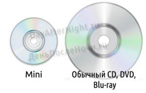 диск обычный и мини